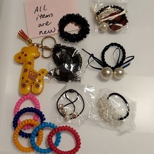 @all new@ hair bands with pearl and key chain